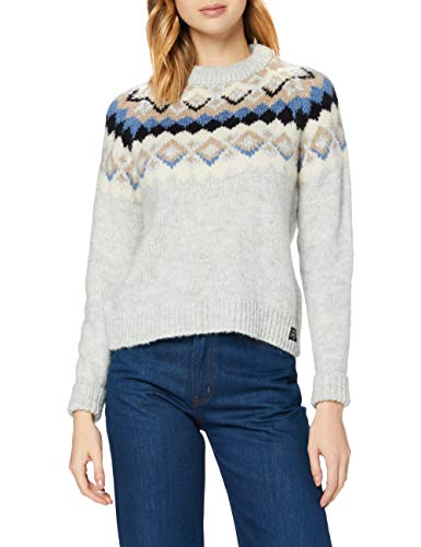 Superdry Montana Jacquard Crew Pull, Light Grey Marl, XL (Taille Fabricant:16) Femme