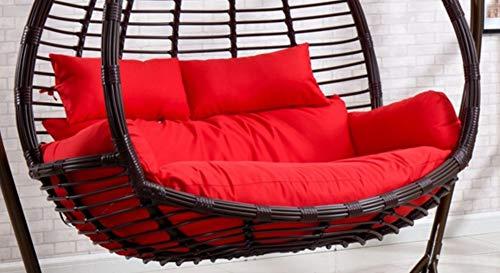 ZMIN Swing Chair Cushion, dikker verwijderbare Egg Nest stoel kussen rieten rotan opknoping hangbank bank mand stoel kussen voor 2 personen zonder standaard