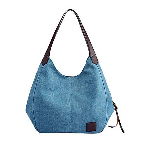 FIRMON Damen Handtasche aus Segeltuch im 70er-Jahre-Stil, hohe Qualität, 1 Schultertasche Gr. Einheitsgröße, blau
