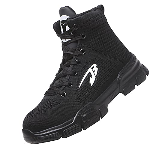 Zapatillas de Seguridad Hombre Ligeras,Seguridad para Hombre con Puntera de Acero Zapatillas de Seguridad Trabajo, Calzado de Industrial y Deportiva,Black▁47
