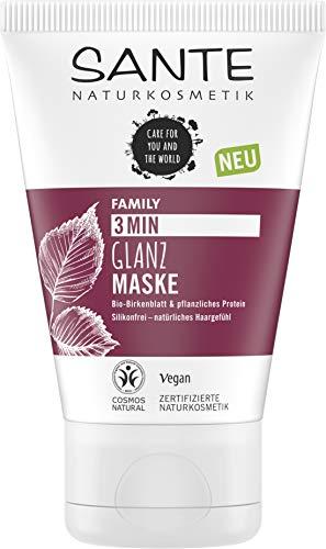 SANTE Naturkosmetik 3 Min Glanz Maske Bio-Birkenblatt & pflanzliches Protein, Intensive Haarkur, Schenkt Glanz und Geschmeidigkeit, Verbesserte Kämmbarkeit, Vegan, 100ml