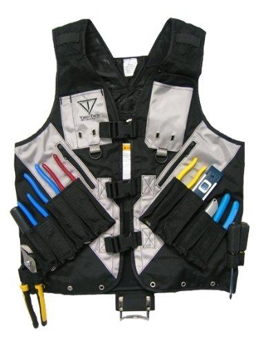 XL - Black Tool Vest with Built in Hydration Pouch - Electricians, Surveyors, Construction (Black) - (Large - XXX-Large)