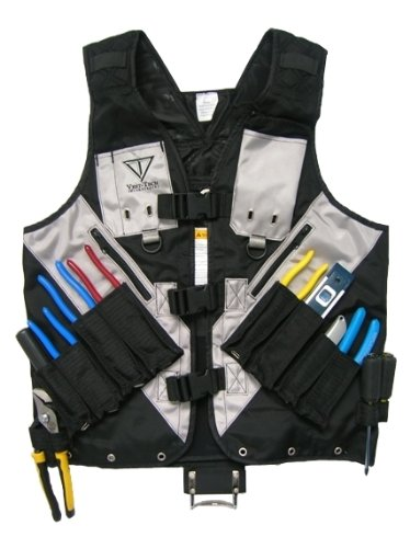 XL - Black Tool Vest with Built in Hydration Pouch - Electricians, Surveyors, Construction (Black) -...