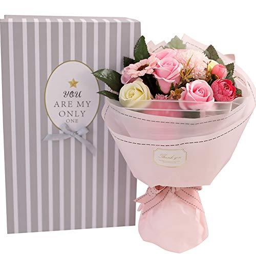 Tolyneil Jabón Bouquet de Flores, Artículos para el hogar Decoración de Flores Artificial Jabón Flor Rosa Ramo Día de la Madre Regalos creativos Regalo de San Valentín (Rosa)