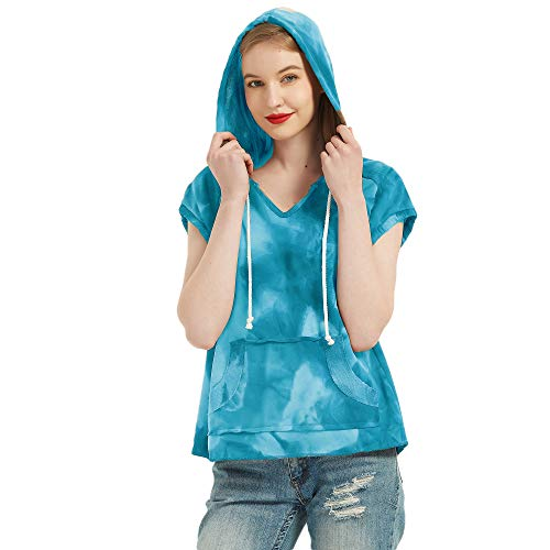 S.Charma - Camiseta de manga corta para mujer con capucha para verano Tie-Dye Azul Tie-dye 42-44