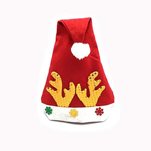 SSRSHDZW Weihnachtsmütze Weihnachtsmütze Geweih Kappe Weihnachtsdekoration Unisex Zwei Farben 28X38cm,B
