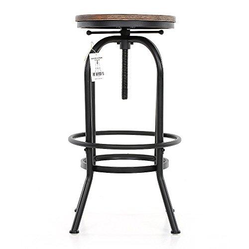 IKAYAA Tabouret de Bar Industriel en Pin et Métal Hauteur Réglable Chaise de Petit Déjeuner (1#)