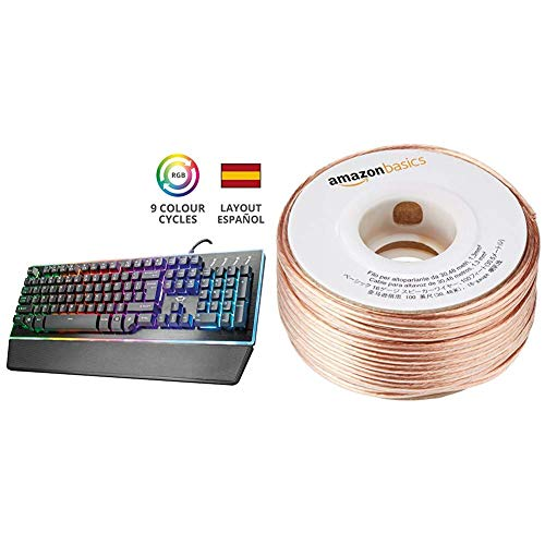 Trust Gaming GXT 860 Thura - Teclado Gaming LED Semi mecánico, Color Negro + AmazonBasics - Cable para Altavoces (Calibre 16, 2x1,3 mm², 30,48 m)