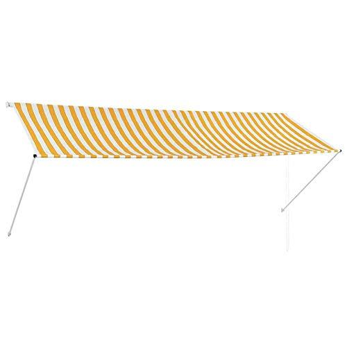 EBTOOLS Sonnensegel, Sonnensegel, Regenschutz, einziehbar, für Balkon oder Garten, Gelb und Weiß, 350 x 150 cm