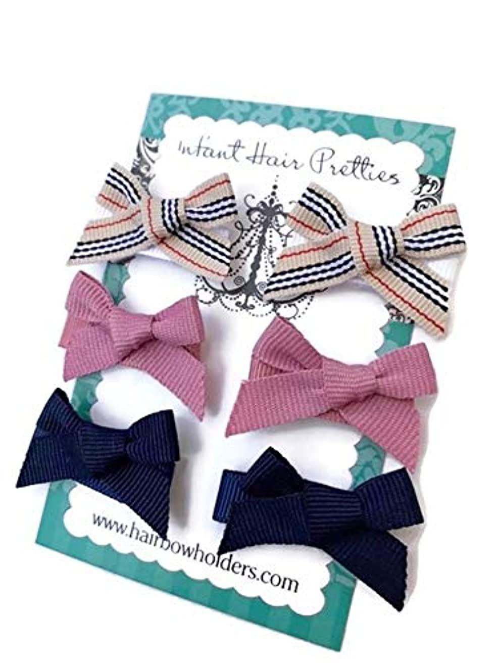 HAIR BOWS Made with VELCRO? brand fasteners for Baby Girl - BEST BABY SHOWER GIFT - Small Mini Bow Ties - Designer, Mauve Navy Blue - newborn cute hair bows