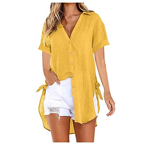 BUDAA Damen Casual Kurzarm Knopf Langarm V-Ausschnitt Hemd Mode T Shirt Bluse (S-3XL) Gelb