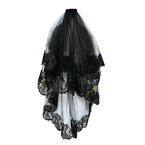 ESden Mantilla Velo de Boda Bordado Floral Encaje Trim Halloween Negro Cosplay Disfraz de Pelo Transparente