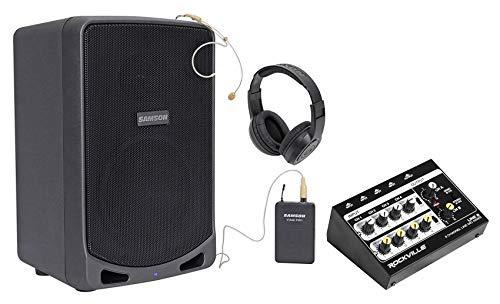 "SAMSON XP106WDE 6"" Rechargeable Bluetooth PA DJ Speaker+Headset+Mixer+Headphones"