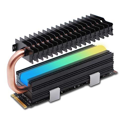 EZDIY-FAB M.2 SSD Kühlkörper mit Heatpipe, 5V 3Pin ARGB SATA NVMe NGFF M.2 Kühlkörper SSD Kühler für 2280 M.2 SSD, mit Wärmeleitpad (SSD Nicht enthalten)