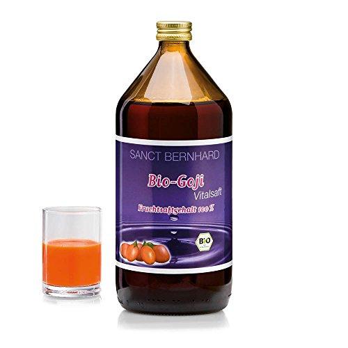 Sanct Bernhard Bio Goji Vital-Saft Fruchtsaftgehalt 100 % ohne Zusatz von Zucker oder Konservierungsstoffen, 1-Liter-Glasflasche