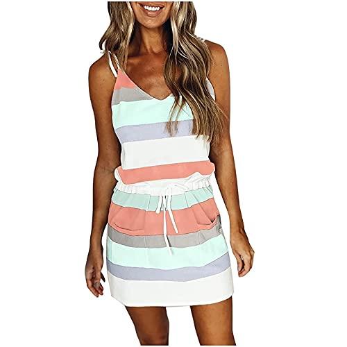 SHOPESSA Womens Summer Dresses Drawstring Elastic Waist Short Sleeve T-Shirt Mini Dress Lounge Casual Striped Tank Dress