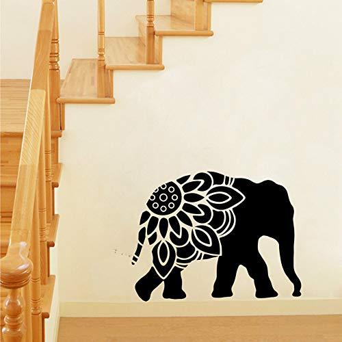 JXAA Elefant Mandala Silhouette Vinyl Wandkunst Aufkleber Tier Elefant Clipart Wandtattoos Wohnzimmer Aufkleber Wandbild Wanddekor 73x56 cm
