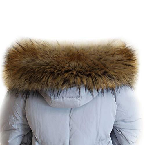 VEVESMUNDO dames bontkraag bontcapuchon bontkraag nepbont bontsjaal afneembaar met knopen voor capuchon winterjas jas jas 70cm-90cm
