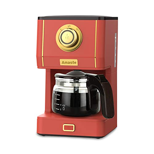 AMASTE Coffee Maker, 25 Oz Drip Coffee Machine with Glass Coffee Pot, Retro Style Coffee Maker with Reusable Coffee Filter & Three Brewing Modes, 30minute-Warm-Keeping, Coral Red