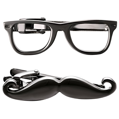 Yoursfs Gunmetal Mustache Tie Clip Black Vintage Funny Pins with Eye Glasses Novelty for Men