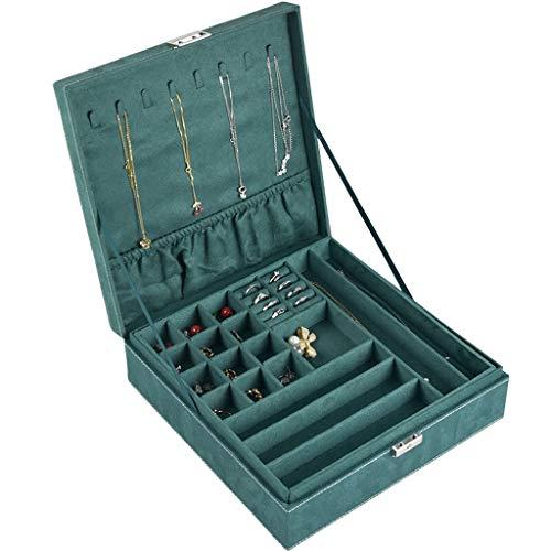 Joyero Joyería de la caja de la franela doble capa de la joyería caja adecuada for su pendiente del collar anillo de la pulsera de almacenamiento acabado cuadro Azul marino grande contenedor organizad