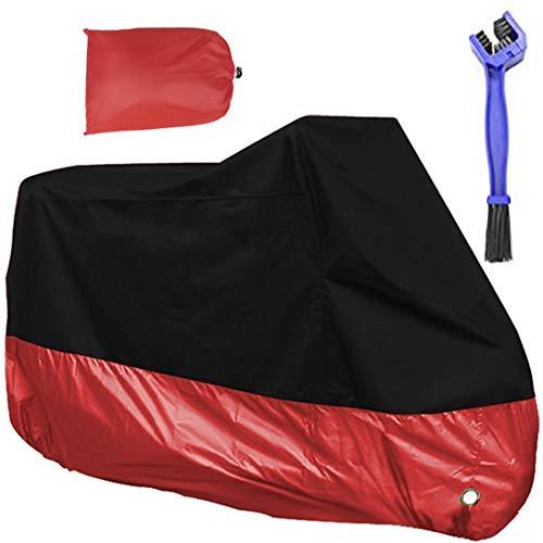 Funda para Moto Impermeable Liyalo Cubierta de Motocicleta 190T Protectora Moto Scooter con Cepillos para Vehículos y Bolso del Almacenaje, Anti-Polvo UV Lluvia Nieve, 245 x 125 x 105cm (Rojo)
