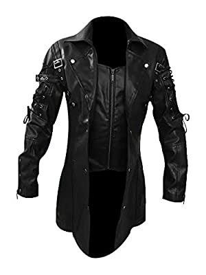 Mens Real Black Leather Goth Matrix Trench Coat Steampunk Gothic - T18 (Medium) from