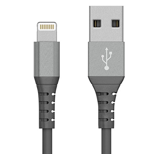 Just Wireless Lightning Cable (5ft) iPhone Charger Cable Extra Strength Tip Apple MFI Certified for iPhone 5 and Higher - XS, XS Max, XR, X, 8, 8 Plus, iPad, and iPod with Lightning Connector - Silver
