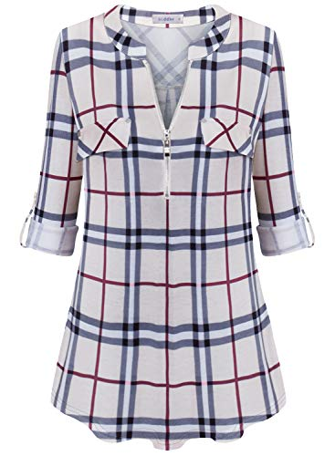 Siddhe Damen Einfarbig V-Ausschnitt Bluse Reißverschluss T-Shirt Oberteile Elegant 3/4 Ärmel Casual Longshirt, Khaki Plaid XXXL