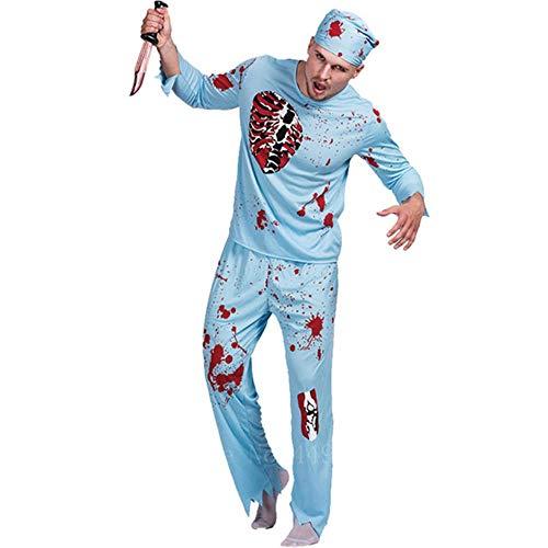Opak Halloween Horror Costume Chirurgia Dottore Pazzo Abiti Cosplay Scheletro insanguinato Carnevale Travestimento Costume da Zombi, Cappello a Cilindro, M
