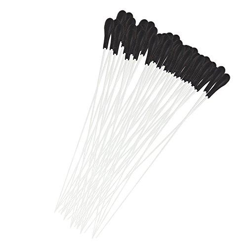 Yibuy Dirigenten-Taktstock, weißes Faser-Glas, mit schwarzem ABS-Griff, 40er Set