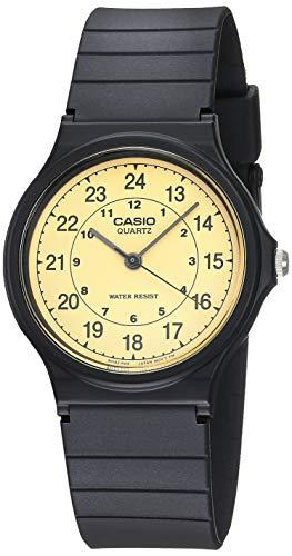 Casio MQ24-9B - Reloj analógico clásico de Cuarzo de Resina Negra con Esfera Beige para Hombre