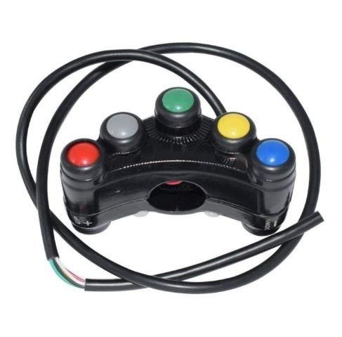 Motocicleta Interruptor de Manillar para Motos competicion de Circuito Aluminio (7 Botones)