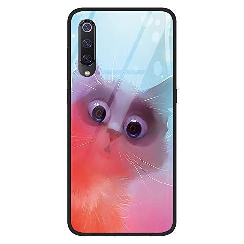 Yoedge Coque Compatible avec Xiaomi Mi 9, Etui en Silicone TPU 3D [Anti-Rayures] Arrière en Verre Trempé Antichoc avec Motif Design Housse de Protection Case Cover pour Mi9 2019, Chat Mignon