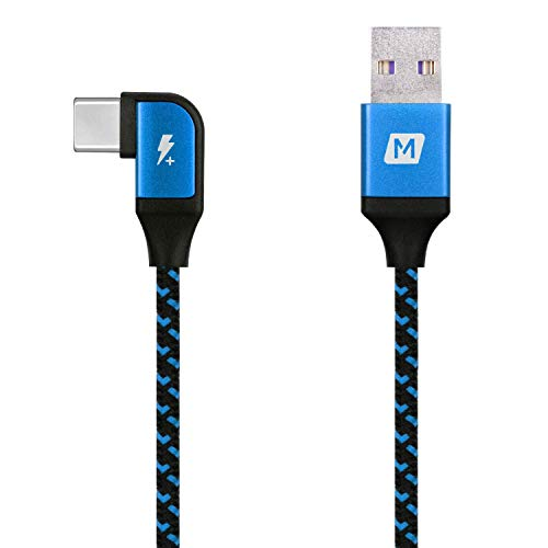 MOMAX L-Shape Right Angle Play Gaming Charging Cable Super Fast Charge QC3.0 PD Type-C to USB Data Sync Cable 1.2M Android iOS DA15B Blus