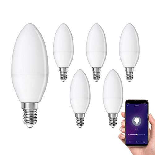 ledscom.de Smarte E14 LED Kerze, Leuchtmittel für Amazon Alexa & Google Home, dimmbar 4W =32W 350lm 300° warm-weiß, 6 STK.