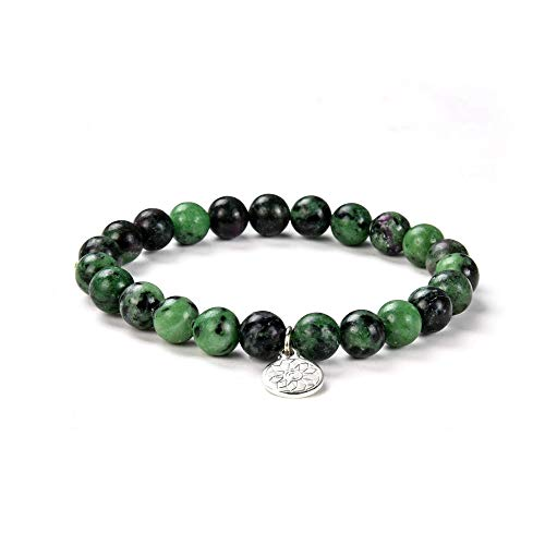 Crystal Agate Ruby Zoisite Bracelet| Chakra Reiki Healing Gemstone Boho Anyolite Bangle| Elastic Stretchy Mood Enhancing Jewelry July Birthstone for Men Women Unisex
