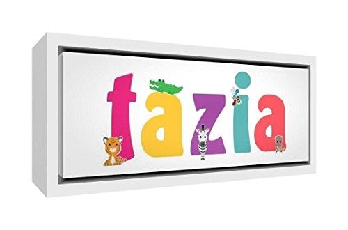 Little Helper LHV-TAZIA-1542-FCWHT-15IT kunstdruk op canvas, blanco, personaliseerbaar met de naam Tazia 25 x 63 x 3 cm Veelkleurig.