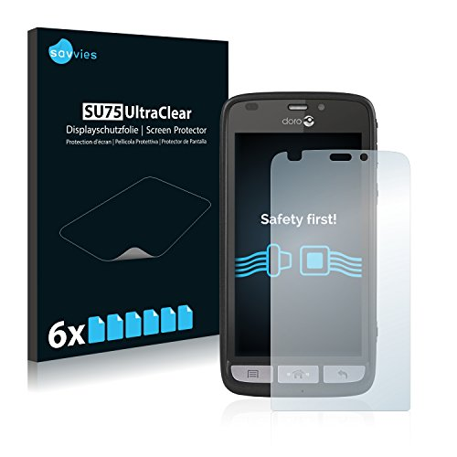 Savvies 6X Schutzfolie kompatibel mit Doro Liberto 820 Bildschirmschutz-Folie Ultra-transparent
