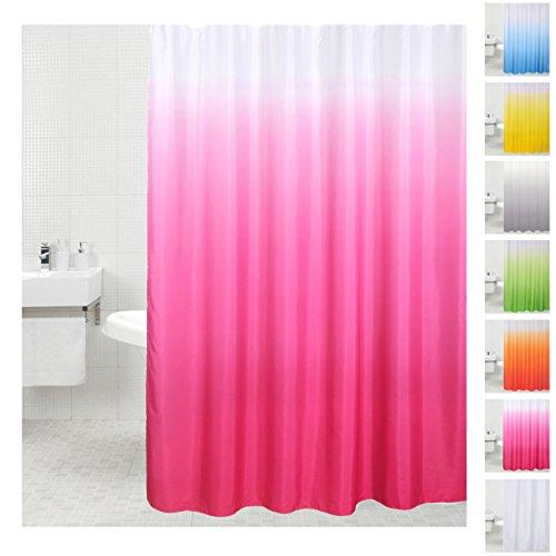 Sanilo Duschvorhang, viele einfarbige Duschvorhänge zur Auswahl, hochwertige Qualität, inkl. 12 Ringe, wasserdicht, Anti-Schimmel-Effekt (180 x 180 cm, Pink)