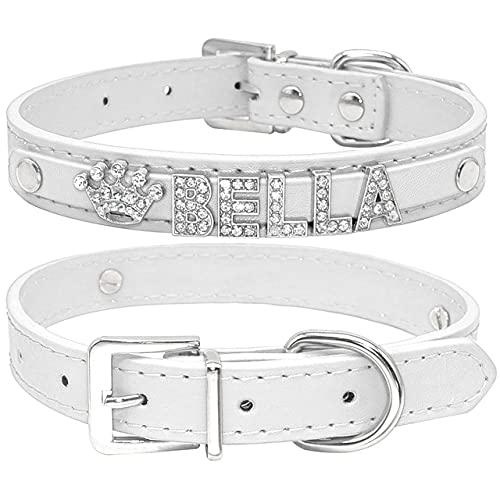 Collares de Perro Cachorro de Diamantes de imitación Brillantes Personalizados Perros pequeños Collar de Chihuahua encantos Accesorios para Mascotas, Blanco, XS
