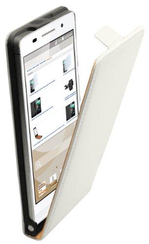 mumbi Flip Hülle für Huawei Ascend P6 Tasche weiss