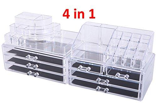 Oule GmbH Kosmetik Aufbewahrung Organizer 4 in 1 Make-Up Schmuck-Box Klar MIT 7 Schubladen 8 Ebenen