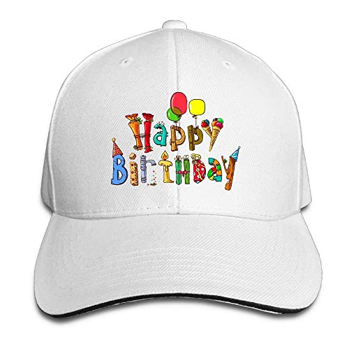Happy Birthday Funny Pattern Fashion Unisex Unstructured Cotton Cap Ajustable Baseball Sombrero Caps White