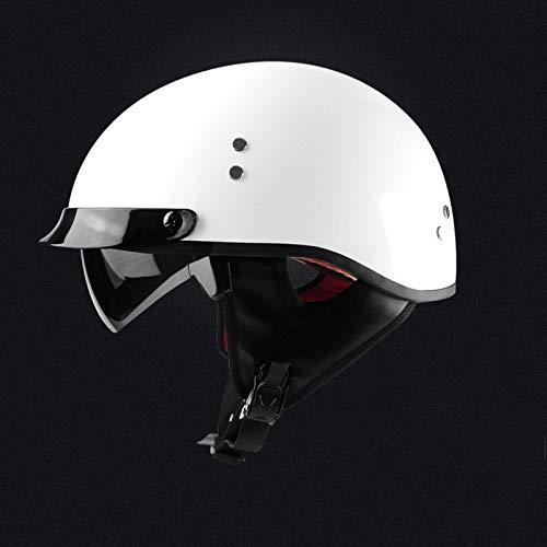 SKINGO Motorradhelm Mann und Frau Vier Jahreszeiten Retro Elektroauto Halbhelm Sonnenschutz Helm Waschbarer Abnehmbarer Kragen