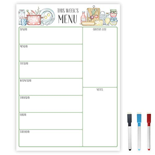 Magnetic Dry Erase Menu Board | Weekly Meal Planner Magnetic for Fridge | Meal Planning Calendar 12x17 Inch Includes 3 Markers