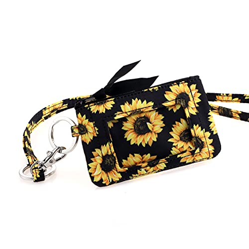 DONGGANGAJI Women's Wallet and Lanyard Set,Zip Id Case with Lanyard (Sunflower-04)