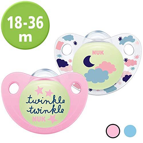Nuk Trendline Night & Day Schnuller mit Leuchteffekt, 18-36 Monate, Silikon, BPA-frei, Rosa, 2 Stück