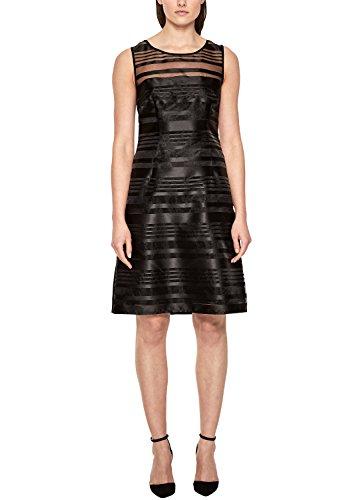 s.Oliver BLACK LABEL Damen Streifenkleid aus Organza Happy Black 36
