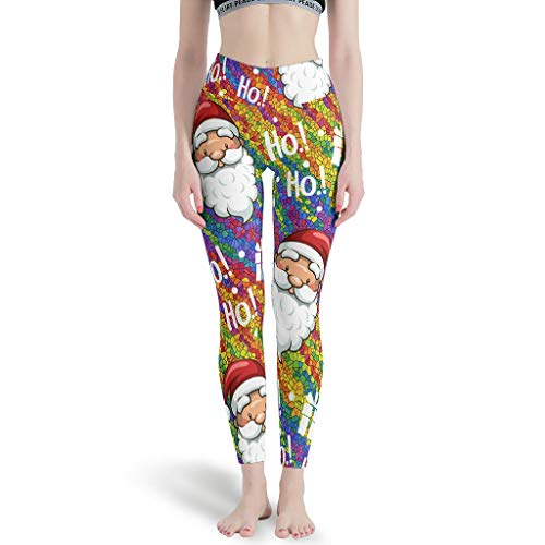Gamoii - Leggings de yoga para mujer, diseño de Papá Noel, arco iris, impresión 3D blanco L